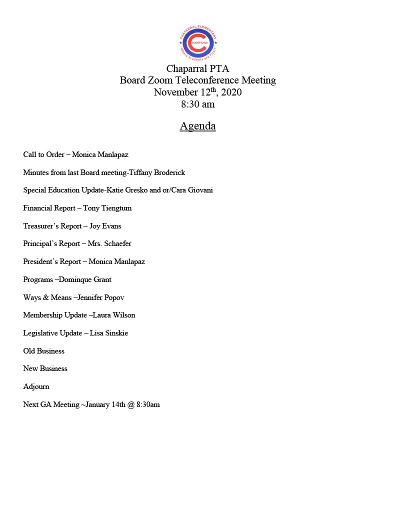 Chaparral GA PTA Agenda 11-12-20201024_1